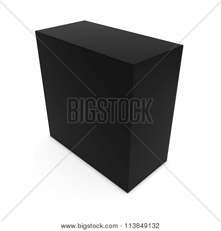 Blank Black Cuboid Isolated On White Background
