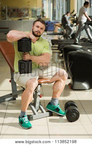 Sportsman in gym.