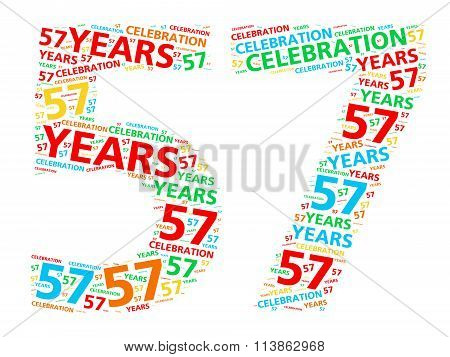 Colorful word cloud for celebrating a 57 year birthday or anniversary
