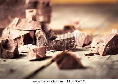 Dark Chocolate Pieces , Chocolate Candy, Cocoa. With Toning .