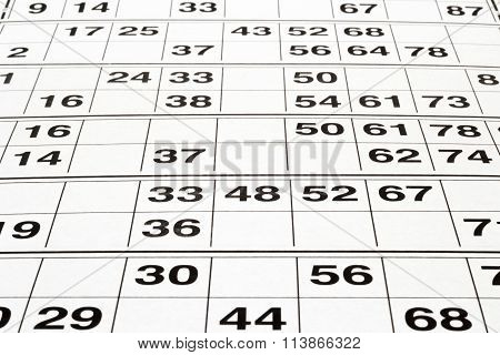 Cards  For Lotto Or Bingo Game