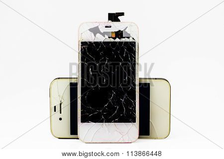 Modern Smartphone With Broken Screen