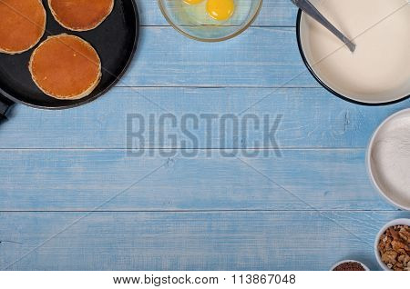 Pancakes With Ingredients For Making The Dough For Pancakes