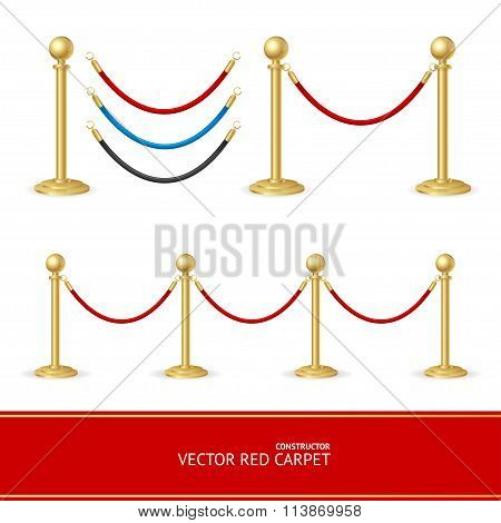 Red Carpet Gold Barrier Constructor. Vector