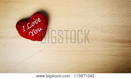 I Love You Message On Velour Red Heart