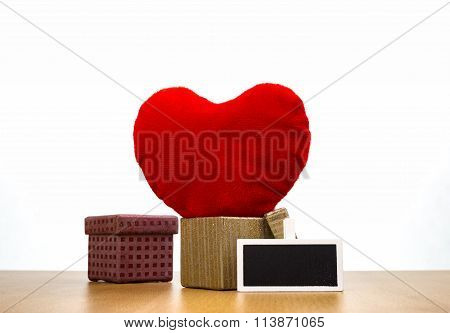 Red Velour Heart In Gift Box