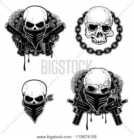 Set Of The Gangsta Skull Emblems