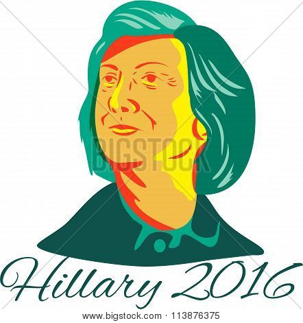 Jan. 11, 2016: Illustration showing Democrat presidential candidate Hillary Clinton on isolated background with words Hillary 2016 done in retro style.