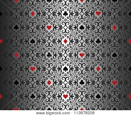 Silver Poker Background With Damask Pattern And Cards Symbols