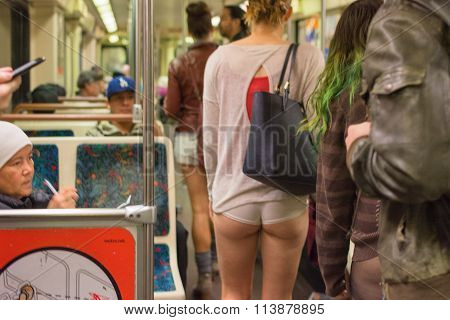Woman On The Subway Without Pants