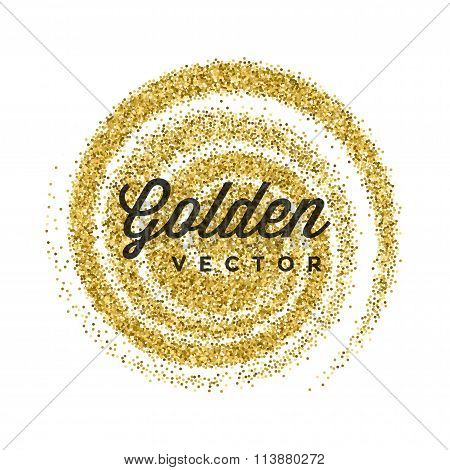 Gold Glitter Sparkles Bright Confetti white vector background