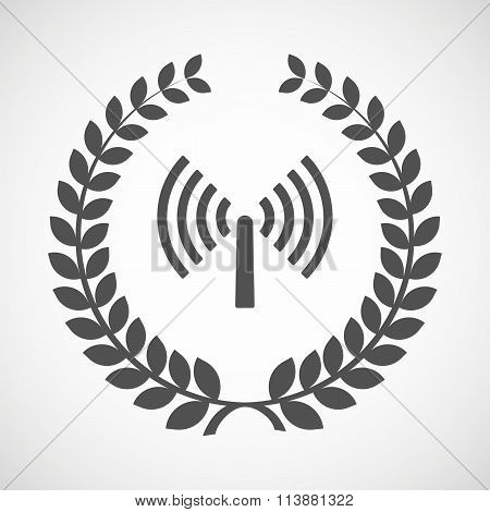 Illustration of an isolated laurel wreath icon with an antenna poster