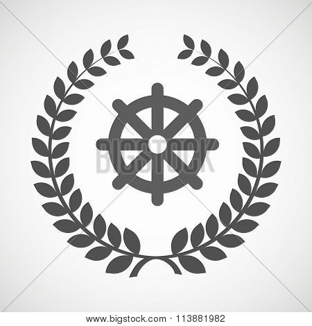 Isolated Laurel Wreath Icon With A Dharma Chakra Sign