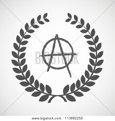 Isolated Laurel Wreath Icon With An Anarchy Sign