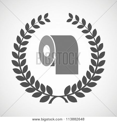 Isolated Laurel Wreath Icon With A Toilet Paper Roll