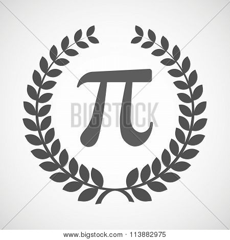 Isolated Laurel Wreath Icon With The Number Pi Symbol