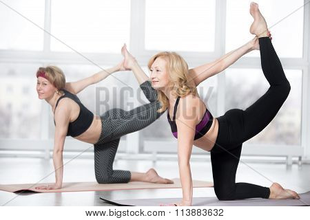 Senior Women Doing Bird Dog Exercise