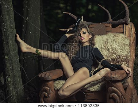 Beautiful Woman With Antlers On Shoes