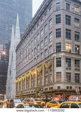 NEW YORK USA - January 3 2015: Flagship store of Saks on Fifth Avenue in New York City. Saks store in 5th Avenue is their flagship location.