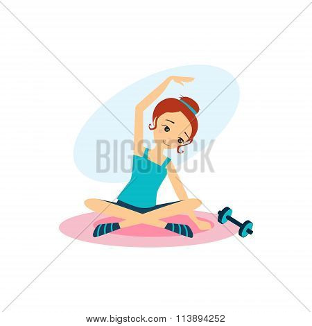 Sport with Dumbbells. Daily Routine Activities of Women. Vector Illustration