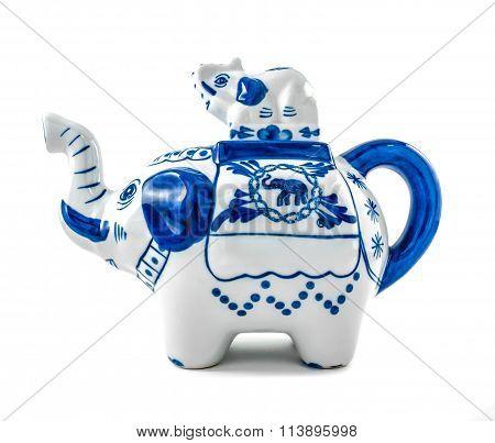 Chinaware Elephant Figure Teapot