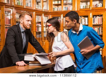 Librarian and students