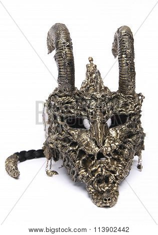 Scary steel mask with horns