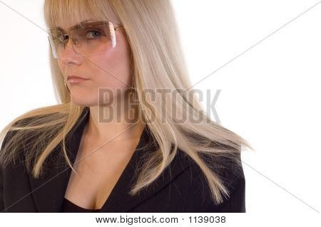 portrait business woman with sunglassess dressed in business clothes poster