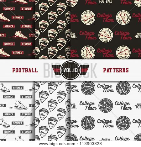 Set of american football patterns. Usa sports seamless background collection. Sport wallpaper with s