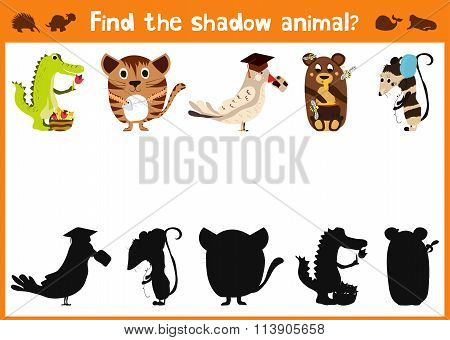 Mirror Image Five Different Cute Animals And A Good Visual Game. Task Find The Right Shadow Image An