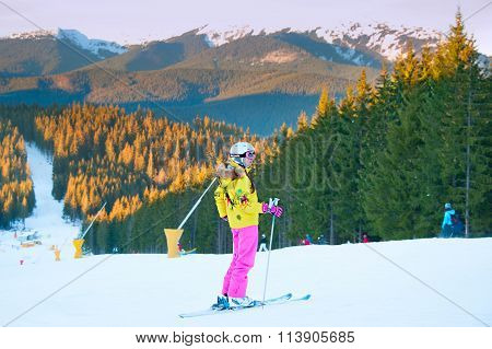 Woman At Ski Resort