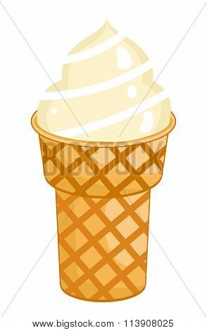 Vanilla Ice Cream Cone isolated. Vanilla Ice Cream Cone on white background. Vanilla Ice Cream Cone icon. Vector Vanilla Ice Cream Cone. Vanilla Ice Cream illustration. Sweet Vanilla desert.