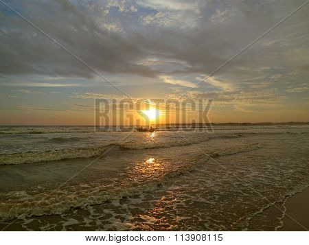 Weligama bay beautiful sunset, Sri Lanka