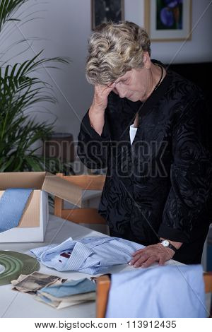 Elderly Female Mourning Husband