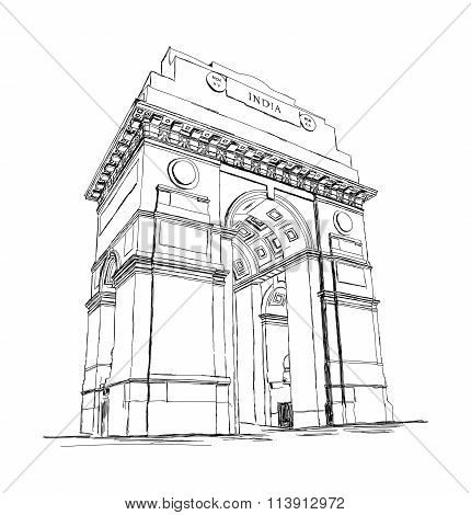 India Gate Vector Sketch Illustration War Memorial, New Delhi, India