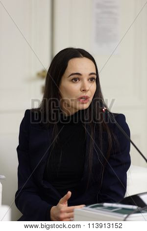 ST. PETERSBURG, RUSSIA - DECEMBER 15, 2015: Prima ballerina of the Mariinsky theater Diana Vishneva at the panel discussion during 4th St. Petersburg International Cultural Forum