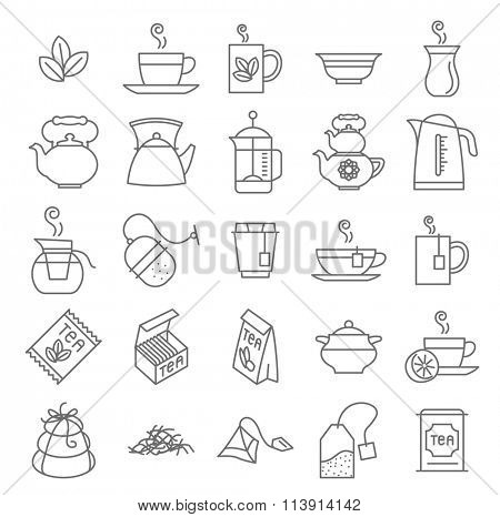 Thin line Tea vector icon set.