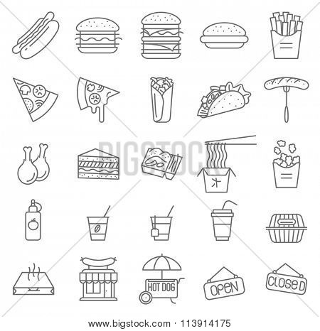 Thin line restaurant menu vector icon set