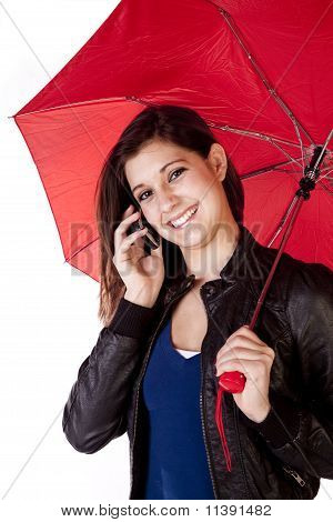 Woman Umbrella Phone Forward Looking