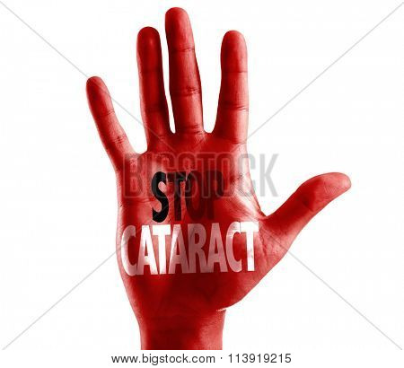 Stop Cataract written on hand isolated on white background