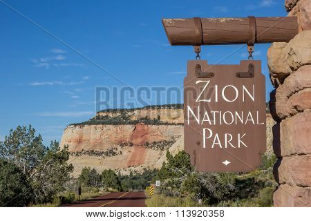 Sign At The Entrance Of Zion National Park