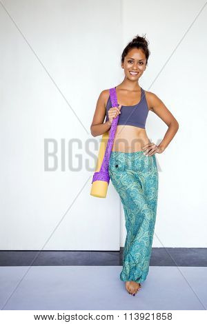 Young beautiful woman wearing harem pants.