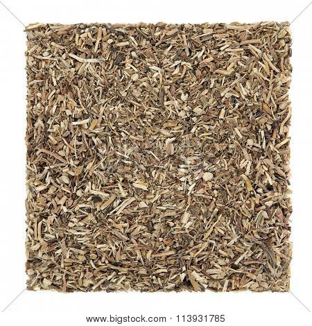 Sarsaparilla root herb used in natural alternative herbal medicine over white background. Used to cure skin diseases including psoriasis. Smilex ornata.