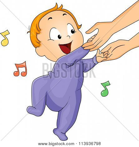 Illustration of a Cute Baby in a Onesie Dancing