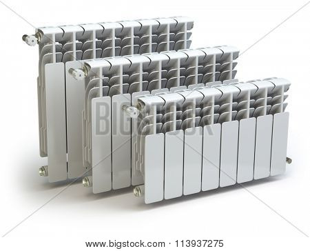 Heating radiators isolated on white background. 3d