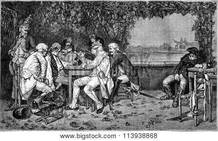The touts, painting by Blant, vintage engraved illustration. Magasin Pittoresque 1880.