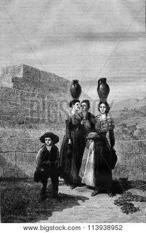 Royal Museum of Madrid, Goya card for tapestry, vintage engraved illustration. Magasin Pittoresque 1880.