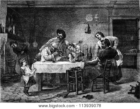 Painting, After dinner, vintage engraved illustration. Magasin Pittoresque 1878.