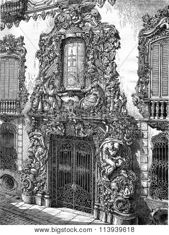 Door of the hotel of the Marquis de Dos Aguas, Valencia, vintage engraved illustration. Magasin Pittoresque 1876.