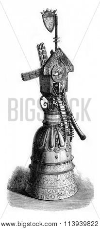 Silver cup of the sixteenth century, vintage engraved illustration. Magasin Pittoresque 1876.